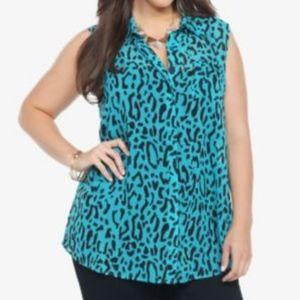 Torrid size 1 sleeveless leopard print sheer top